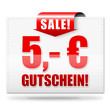 5,- Euro Gutschein! Button, Icon