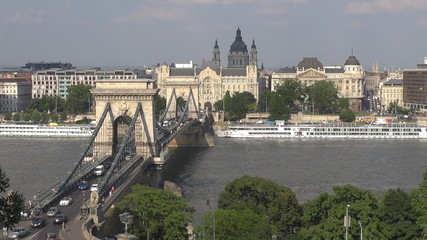 The Széchenyi Chain Bridge and boats traffic, Hungary