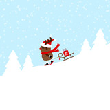 Rudolph Skiing Downhill Pulling Sleigh With Gift