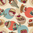 Vector background with of cake in retro style. Seamless pattern.