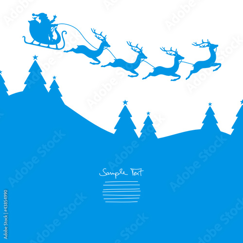 Xmas Card Christmas Sleigh Flying Red Iceblue
