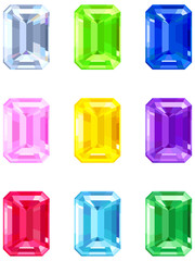 Square cut gemstones