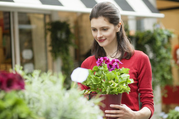 Woman holding a potted plant in a flower shop