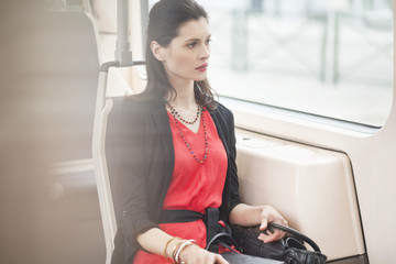 Woman traveling in a bus