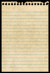 Old torn notepaper page isolated black background.