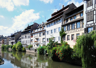 Panorama of tourist area Petit France in Strasbourg,