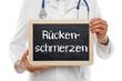 Arzt mit Tafel Rückenschmerzen