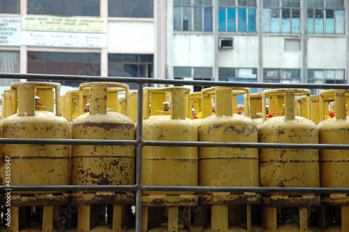 yellow used gas tubes