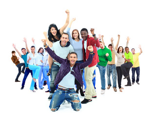 Happy group of people with arms up - isolated over