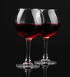 Wineglasses isolated on black