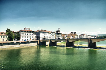 Ponte Alle Grazie in Florence with Arno and Medieval Architectur