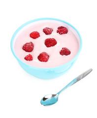 Yogurt with raspberries isolated on white