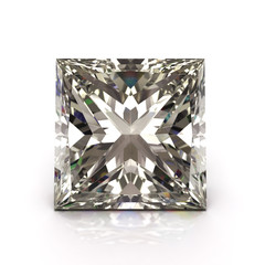 Princess cut diamond on white