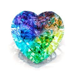 rainbow heart shape diamond