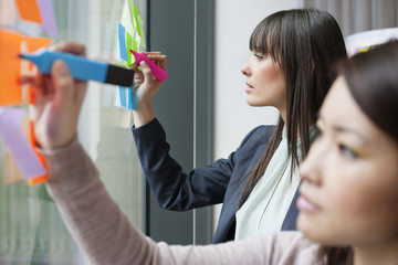 Businesswomen writing on adhesive notes in an office