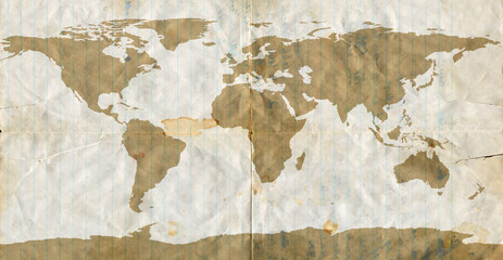 World map on dirty used loose leaf paper.