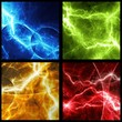 Four colorful abstract lightning