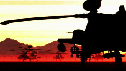 Apache AH-64D attacking helicopters base in the sunset sunrise