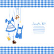 Octoberfest Symbols & Pattern Middle Blue/White
