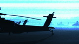 Apache AH-64D attacking helicopters base in the sunset sunrise poster