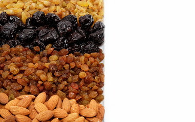 Mixed nuts and dried fruits. Almonds, raisins and prunes.