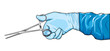 Surgeon's hand with hemostatic clamp