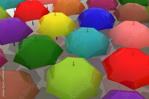 many multicoloured umbrellas