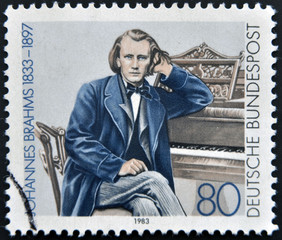 a stamp printed in  Germany shows Johannes Brahms