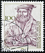 Постер, плакат: A stamp printed in the Germany shows the portrait of Hans Sachs
