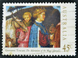Stamp printed in Australia shows draw The Adoration of the Magi