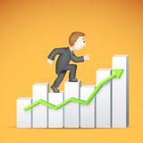 Business man climbing Bargraph