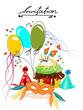 Carneval , Cupcakes mit Ballon und Maske