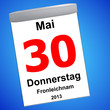 Leinwandbild Motiv Kalender auf blau - 30.05.2013 - Fronleichnam
