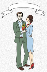 Illustration of a woman who gives present to her man