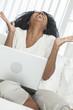 African American Woman Laptop Computer Laughing Celebrating