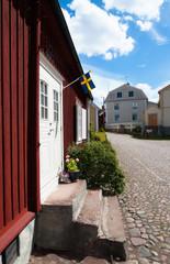 Straße und Marktplatz in Pataholm, Småland, Schweden