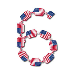 Number 6 made of USA flags in form of candies