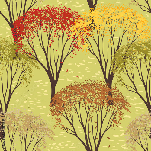 Background with trees in autumn season