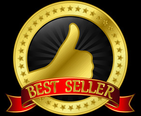 Best price golden label with red ribbon, vector illustration