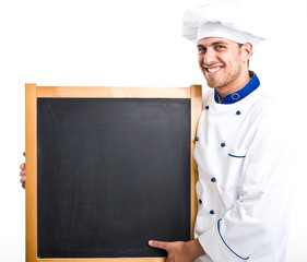 Chef holding a blackboard
