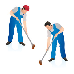 Two professional cleaners wiping the floor wall with a swab