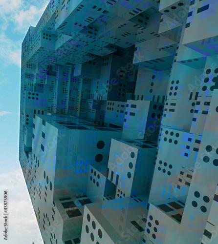 Keuken foto achterwand Schip flying modern city observation spaceship concept