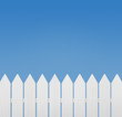 White wooden fence against the sky with copy space