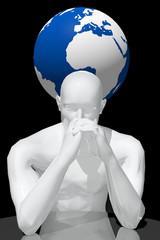 Persona pensando en los problemas del mundo