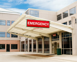 Entrance to emergency room at hospital