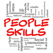People Skills Word Cloud Concept in Red Caps