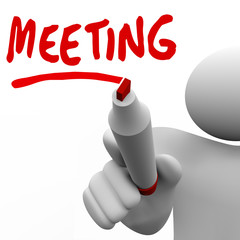 Meeting Word Man Writing on Board Discussion Meet Up