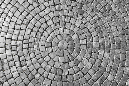 Texture of cobblestone in old town.