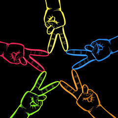 Neon Hands in Peace Sign Forming a Star on Black Background