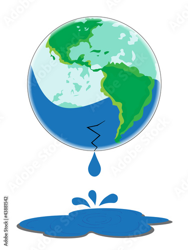 Earth Leaking Water on White background